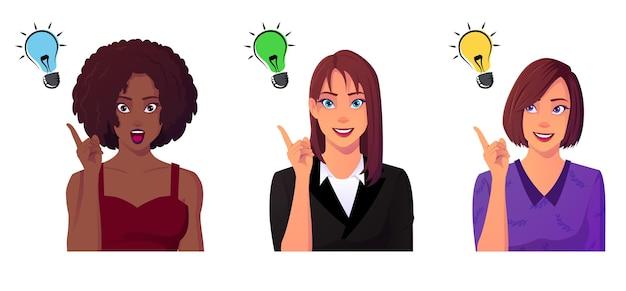 Concepto de creatividad de mujeres con grupo multicultural.
