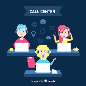 Concepto creativo de call center en estilo flat