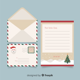 Concepto creativo de carta y sobre de navidad