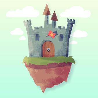 Concepto creativo de castillo de cuento de hadas