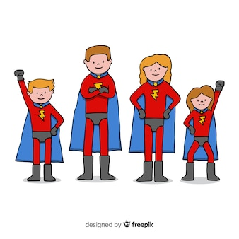 Concepto creativo de familia de superheroes