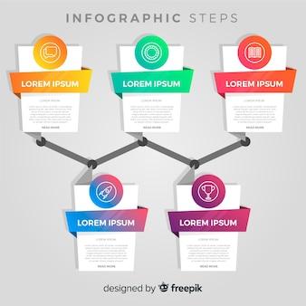 Concepto creativo de pasos infográficos