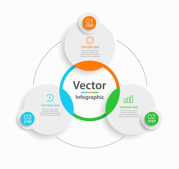 Concepto creativo para diagrama de infografía con 3 pasos.