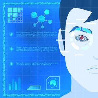 Concepto creativo de diseño infográfico de tecnología de escáner de biometría ocular con un tipo de caricatura escaneando su ojo para acceder sobre fondo azul.