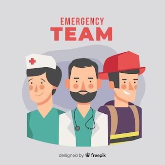 Concepto creativo de equipo de emergencia flat