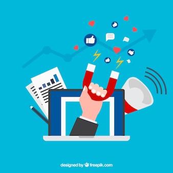 Concepto creativo flat de influencer marketing