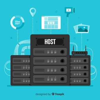 Concepto creativo de hosting