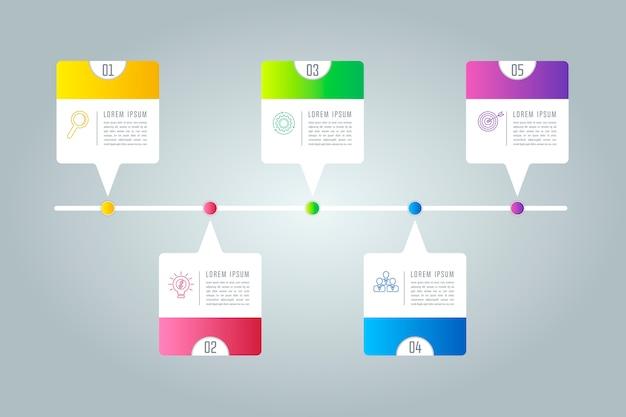 Concepto creativo para infografía con 5 opciones, partes o procesos.