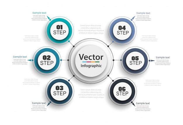 Concepto creativo para infografía con 6 pasos.