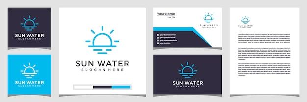 Concepto creativo del logotipo del agua del sol. con membrete y tarjeta de visita con logotipo de estilo de arte lineal