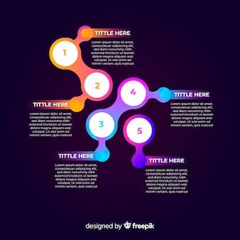 Concepto creativo de pasos infográficos gradientes