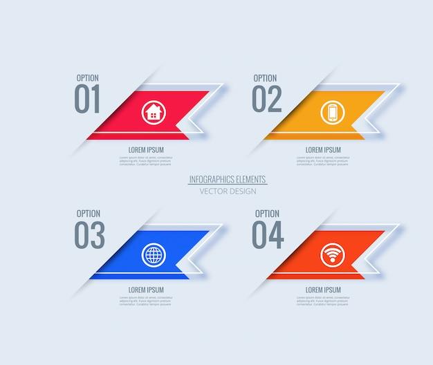 Concepto creativo de plantilla de diseño de infografía con 4 pasos