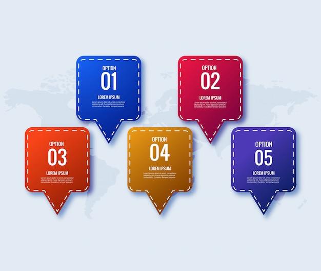 Concepto creativo de plantilla de diseño de infografía con 5 pasos