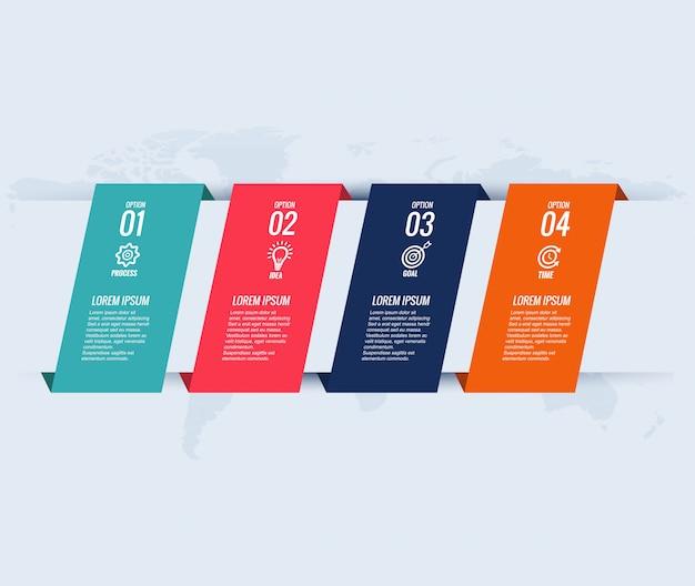 Concepto creativo de plantilla de diseño de infografía con cuatro pasos