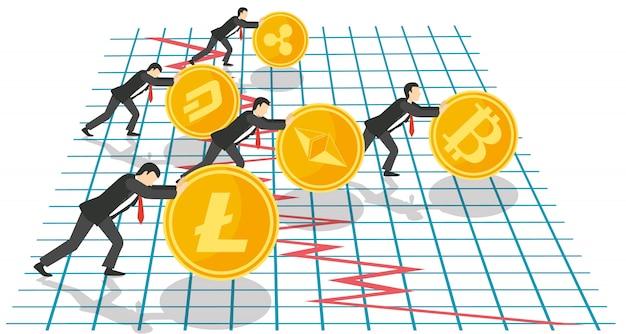 Concepto de crecimiento de bitcoin