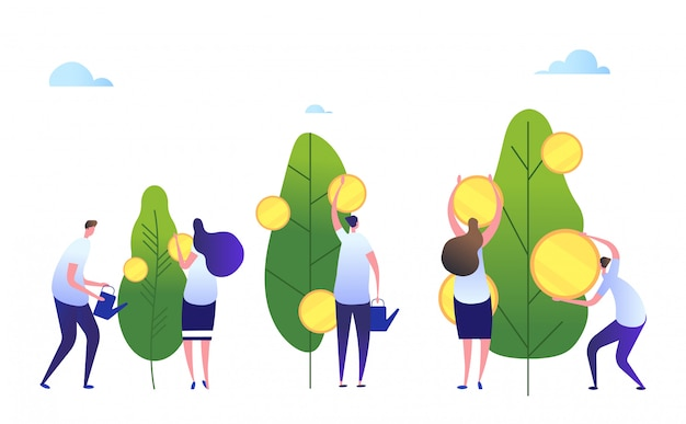 Concepto de crecimiento de dinero. las personas de dibujos animados cultivan compañía. beneficio en efectivo, concepto de negocio de riqueza creciente de inversión