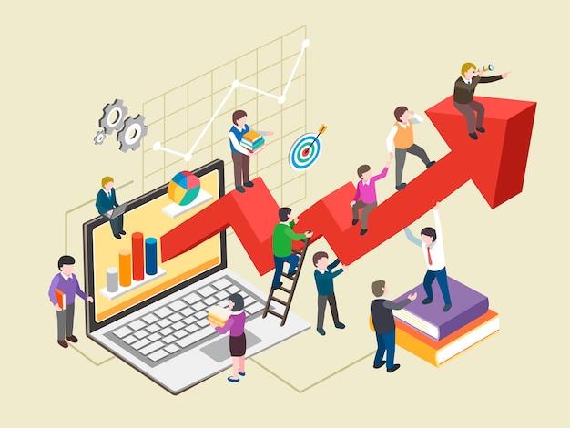 Concepto de crecimiento económico en gráfico isométrico
