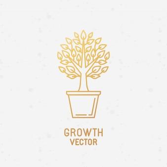 Concepto de crecimiento y elemento de diseño de logo.