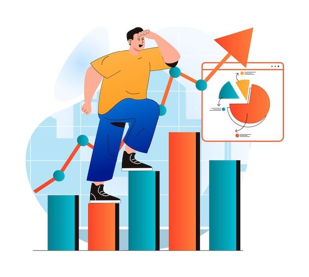 Concepto de crecimiento empresarial en diseño plano moderno el empresario avanza hacia los objetivos profesionales