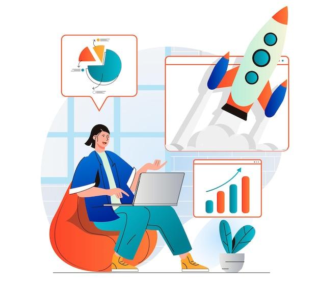 Concepto de crecimiento empresarial en moderno diseño plano empresaria que trabaja en el inicio del lanzamiento de la computadora portátil