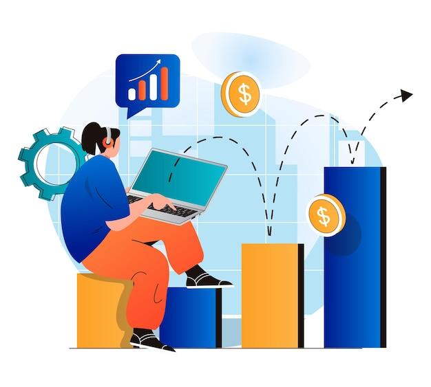 Concepto de crecimiento empresarial en moderno diseño plano empresaria trabajando en análisis de computadora portátil