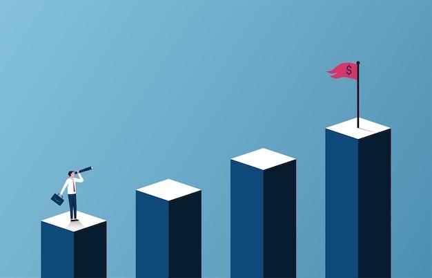 Concepto de crecimiento empresarial y profesional con el empresario en busca de ilustración de destino.
