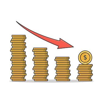 Concepto de crecimiento financiero con pilas de ilustración de icono de monedas de oro. disminuir montones de monedas plano icono