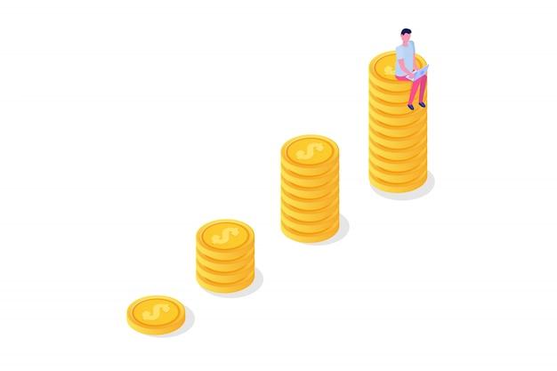 Concepto de crecimiento financiero con pilas de monedas de oro