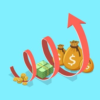 Concepto de crecimiento financiero, productividad empresarial, roi, rendimiento financiero.
