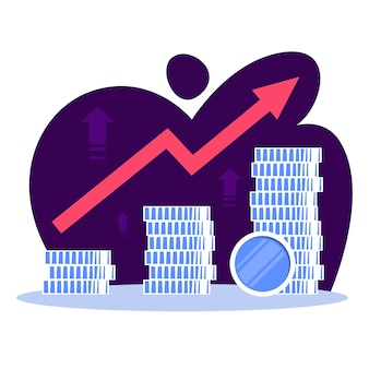 Concepto de crecimiento de las finanzas empresariales. idea de aumento de dinero