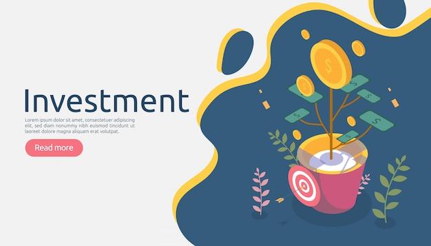 Concepto de crecimiento de la gestión empresarial. rentabilidad de la inversión con planta de moneda de dinero