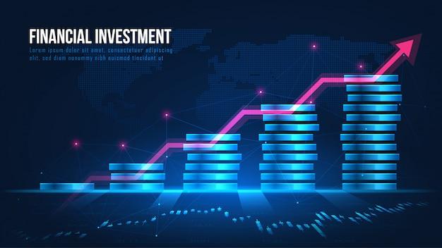 Concepto de crecimiento de la inversión financiera global