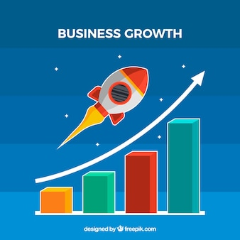 Concepto de crecimiento de negocios con cohete