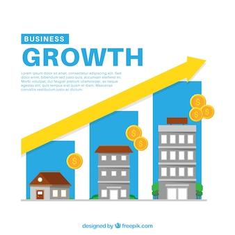 Concepto de crecimiento de negocios con edificios