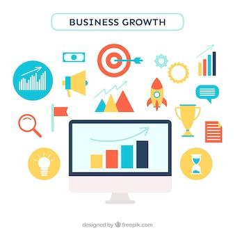 Concepto de crecimiento de negocios con elementos