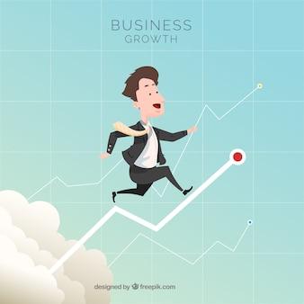 Concepto de crecimiento de negocios con hombre en cielo