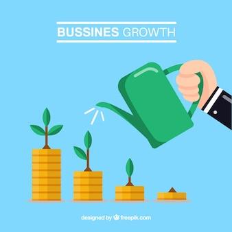 Concepto de crecimiento de negocios con hombre echando agua a monedas