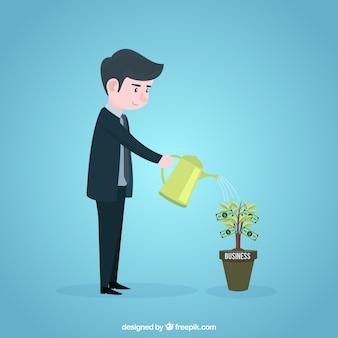 Concepto de crecimiento de negocios con hombre de negocios plantando