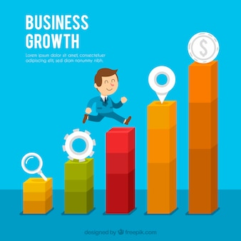 Concepto de crecimiento de negocios con hombre subiendo barras
