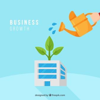 Concepto de crecimiento de negocios con regadera