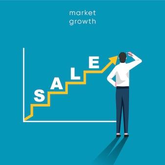 Concepto de crecimiento de ventas. hombre de negocios dibujar un gráfico simple con ilustración de curva ascendente.