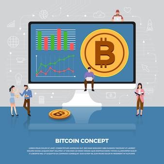 Concepto de criptomoneda bitcoin. icono de desarrollo de personas de grupo bitcoin y gráfico gráfico. ilustrar.