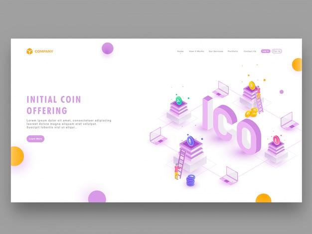 Concepto de criptomoneda ico (oferta inicial de monedas)