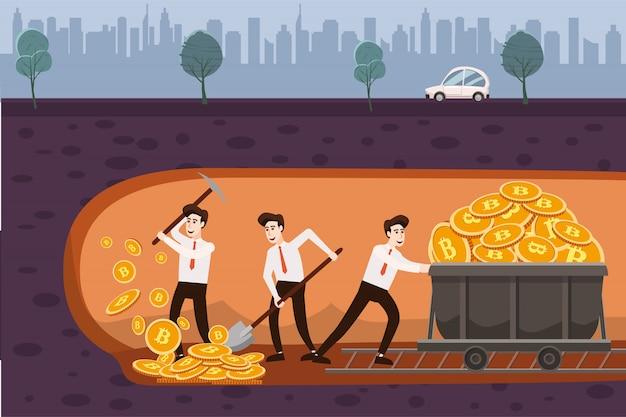 Concepto de criptomoneda con mineros de businessmans y monedas con martillo neumático