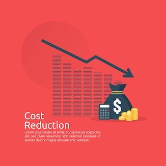 Concepto de crisis financiera. pila de monedas de pila y bolsa de dinero. reducción de costo. pérdida de ingreso.