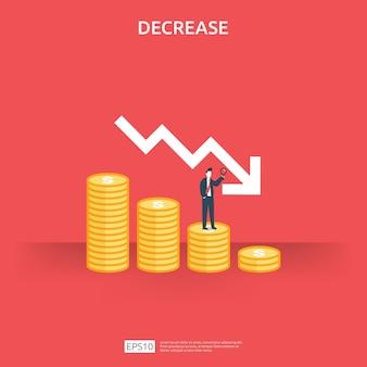 Concepto de crisis de finanzas empresariales. símbolo de caída de dinero.