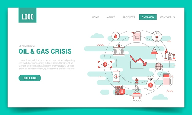 Concepto de crisis de petróleo con icono de círculo para plantilla de sitio web