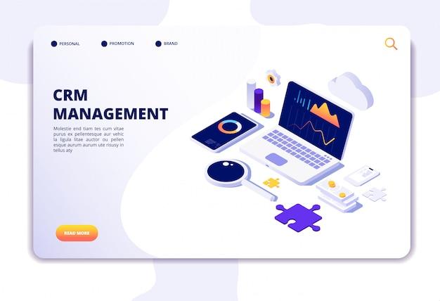 Concepto de crm. gestión de la relación con el cliente. solución de sistema web de base de datos. página de inicio isométrica