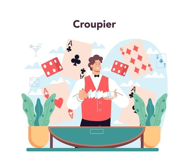 Concepto de croupier. persona en uniforme detrás de un mostrador de juegos de azar. distribuidor en casino en mesa de ruleta o cartas. negocio de juegos de casino. ilustración de vector aislado