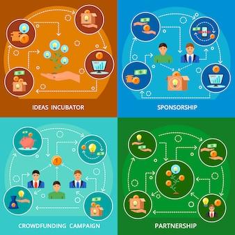 Concepto de crowdfunding 4 composiciones planas